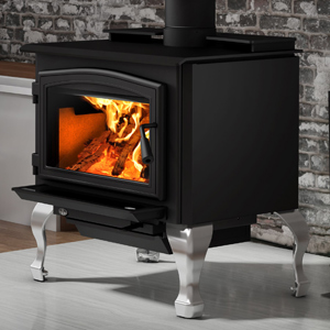 Osburn 2000 Wood Stove shown with Black Door Overlay and Brushed Nickel Cast Iron Traditional Leg Kit with Ash Drawer