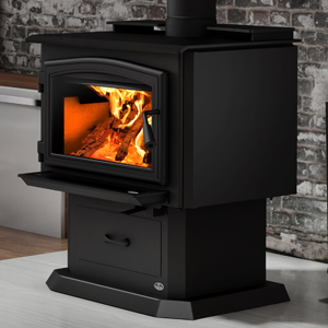 Osburn 2000 Wood Stove shown with Black Door Overlay and Pedestal Kit