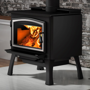 Osburn 2000 Wood Stove shown with Brushed Nickel Door Overlay and Black Cast Iron Structural (Straight) Leg Kit with Ash Drawer
