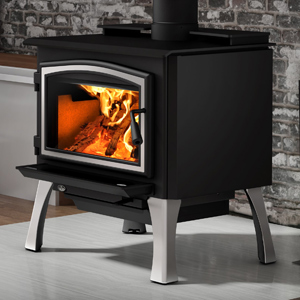 Osburn 2000 Wood Stove shown with Brushed Nickel Door Overlay and Brushed Nickel Cast Iron Structural (Straight) Leg Kit with Ash Drawer