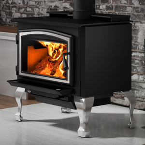 Osburn 2000 Wood Stove shown with Brushed Nickel Door Overlay and Brushed Nickel Cast Iron Traditional Leg Kit with Ash Drawer