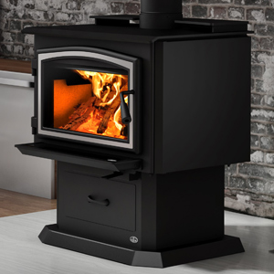 Osburn 2000 Wood Stove shown with Brushed Nickel Door Overlay and Pedestal Kit