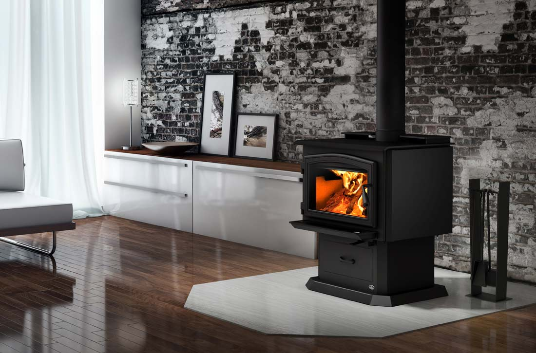 Osburn 2000 wood stove shown with pedestal in living space