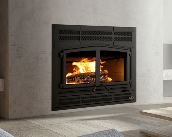 Osburn Horizon wood fireplace shown in living room at angle