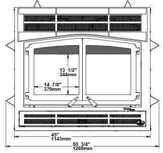 Osburn Horizon wood fireplace dimension diagram front view