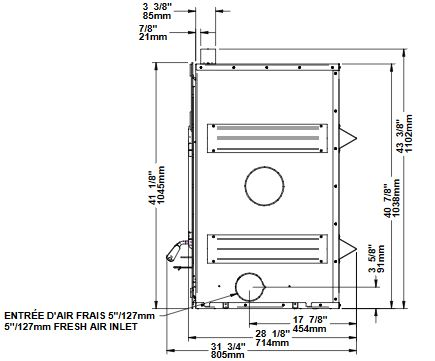 Osburn Horizon wood fireplace dimension diagram right side view