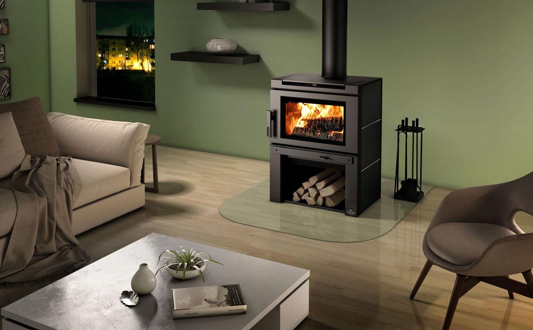Osburn Matrix wood stove installed in living room