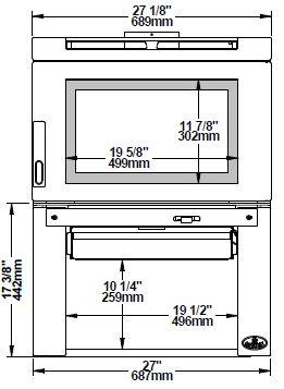Osburn Matrix OB02032 wood stove front dimensions