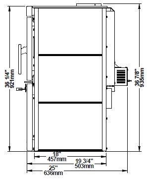 Osburn Matrix OB02032 wood stove side dimensions