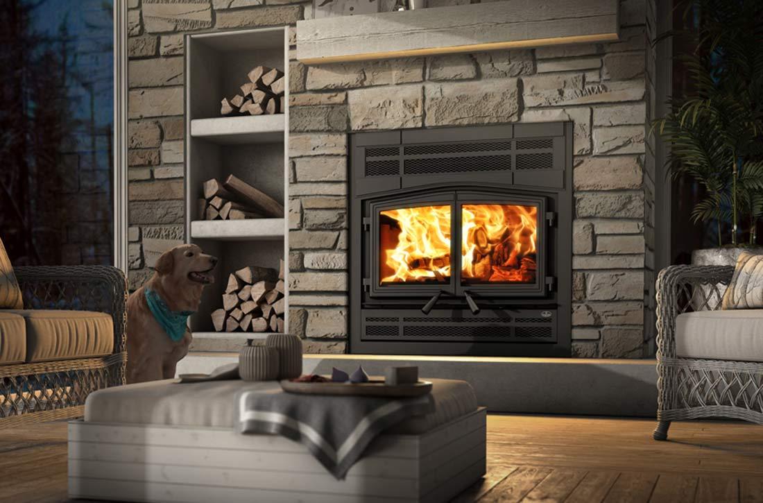 Osburn Stratford II wood fireplace shown in living room
