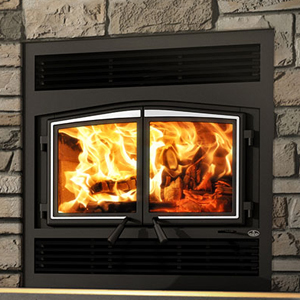 Osburn Stratford II wood fireplace with traditional faceplate and brushed nickel door