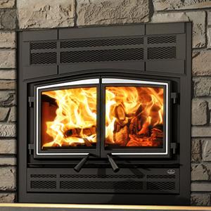 Osburn Stratford II wood fireplace with prairie style faceplate and brushed nickel door