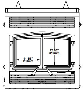 Osburn Stratford II wood fireplace dimension diagram front view