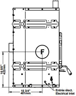 Osburn Stratford II wood fireplace dimension diagram left side view