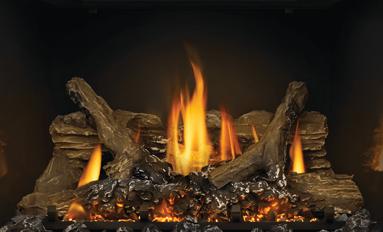 Included split oak log set