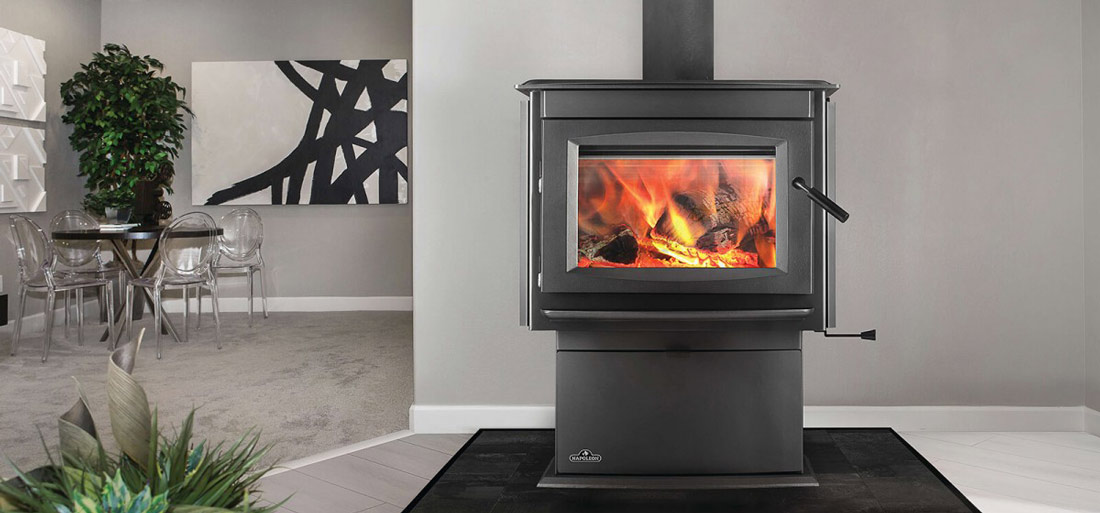 Napoleon S25 Wood Stove shown installed in home