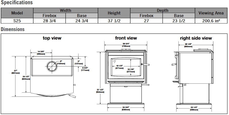 Napoleon S25 wood stove specifications and dimensions