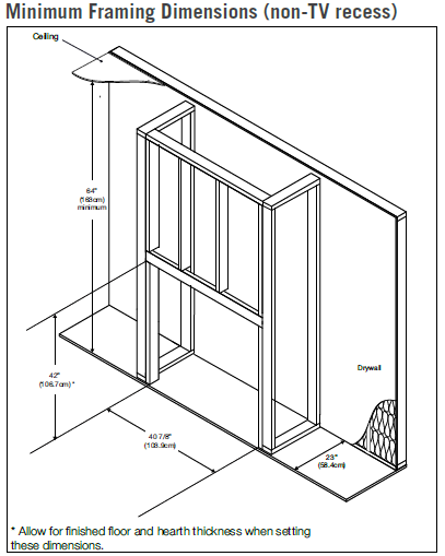 Napoleon Ascent Deep 42 framing with out TV recess diagram