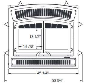 Diagram of Ventis HE350 wood fireplace dimensions from front