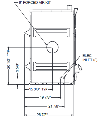 Diagram of Ventis HE350 wood fireplace dimensions from left side