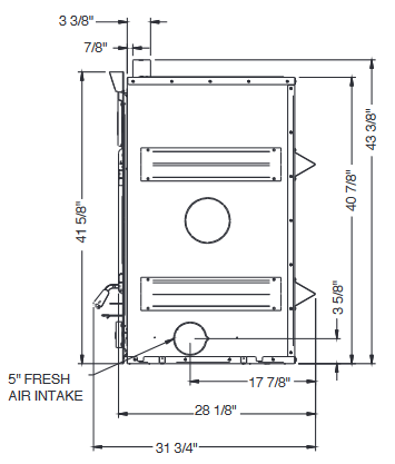 Diagram of Ventis HE350 wood fireplace dimensions from right side