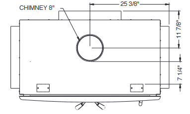 Diagram of Ventis HE350 wood fireplace dimensions from top