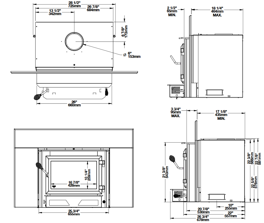 Ventis HEI170 wood fireplace insert dimension diagrams