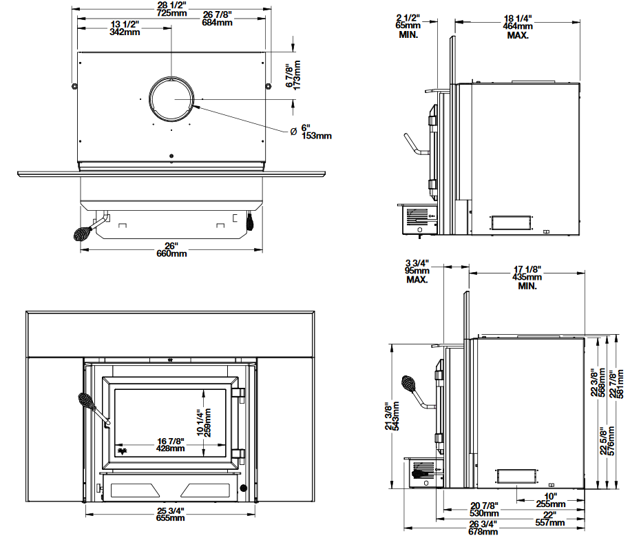 Ventis HEI240 wood fireplace insert dimension diagrams