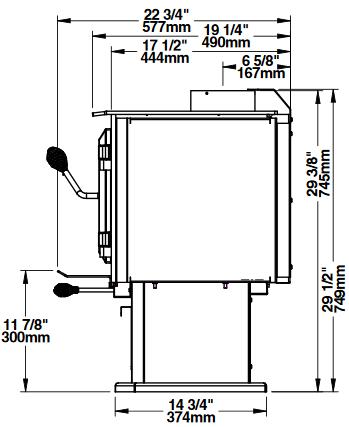 Ventis HES170 side dimensions diagram