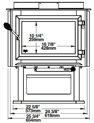 Ventis HES240 front dimensions diagram
