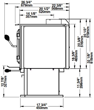 Ventis HES240 side dimensions diagram