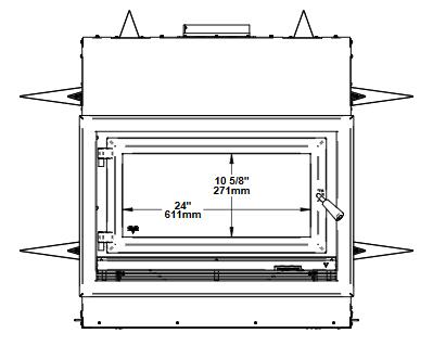 Ventis HE275CF front dimensions diagram