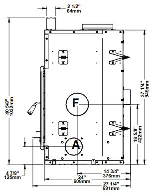 Ventis HE275CF right side dimensions diagram