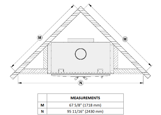 Ventis HE350 corner installation diagram