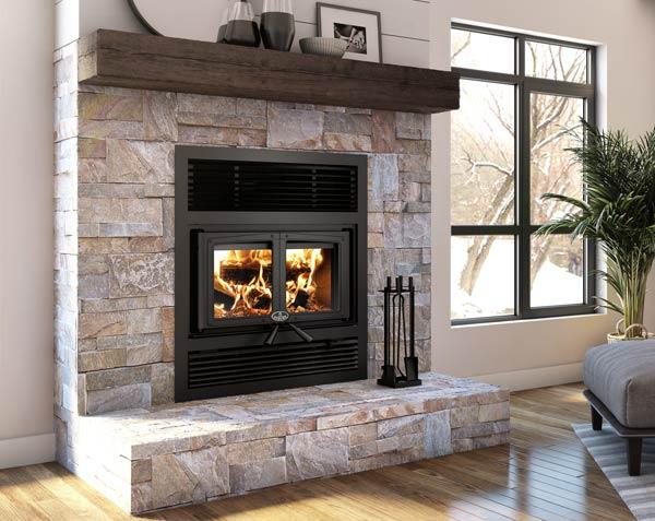 Osburn Everest II wood fireplace shown in living room with black door overlay