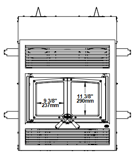 Osburn Everest II wood fireplace dimension diagram front view