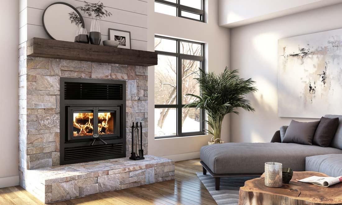 Osburn Everest II wood burning fireplace