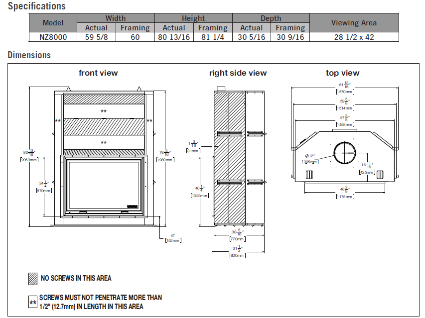 Image of dimension diagrams and specifications chart for Napoleon High Country 8000 wood fireplace