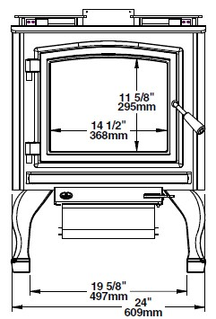 Osburn 3300 wood stove front view dimension diagram