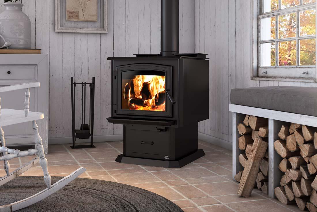 Osburn 3300 wood stove shown with pedestal and black door overlay