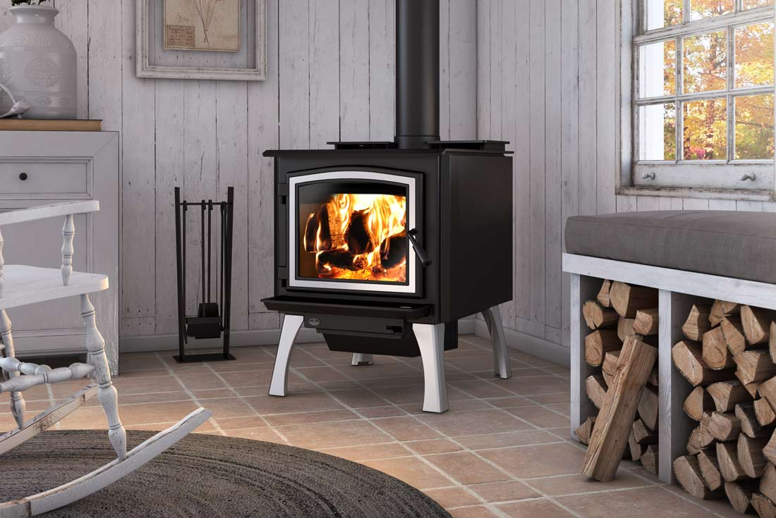 Osburn 3300 wood stove shown with brushed nickel structural legs and brushed nickel door overlay