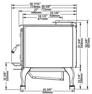Osburn 3300 wood stove side view dimension diagram