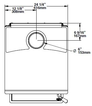 Osburn 3300 wood stove top view dimension diagram