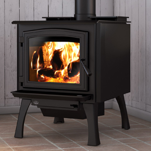 Osburn 3300 wood stove shown with black door overlay and straight black legs with ash drawer