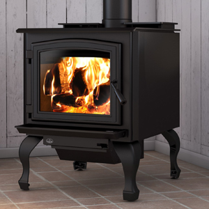 Osburn 3300 wood stove shown with black door overlay and traditional black legs with ash drawer