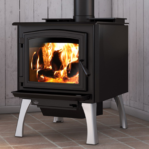 Osburn 3300 wood stove shown with black door overlay and straight brushed nickel legs with ash drawer