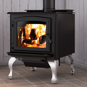 Osburn 3300 wood stove shown with black door overlay and tradtional brushed nickel legs with ash drawer