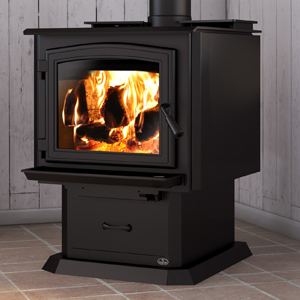 Osburn 3300 wood stove shown with black door overlay and pedestal base with ash drawer