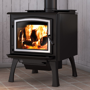 Osburn 3300 wood stove shown with brushed nickel door overlay and straight black legs with ash drawer