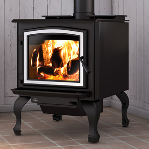 Osburn 3300 wood stove shown with brushed nickel door overlay and traditional black legs with ash drawer